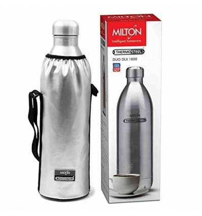 Milton Hot and Cold Water Bottle Thermosteel Duo DLX 1800 Steel Plain 1700 ML