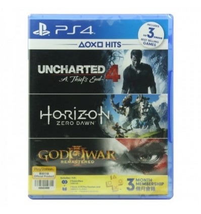 Uncharted 4 + Horizon + God Of War 3 DLC + 3 Months PSN membership For Sony PS4