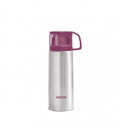 MILTON ThermoSteel Glassy Hot and Cold Bottle with Drinking Cup Lid, (350ml