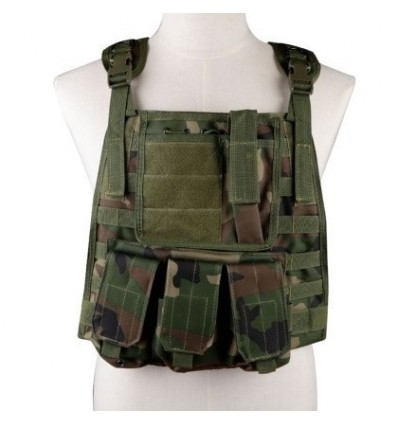 WST Molle Military Combat Vest Adjustable 600D Encryption Polyes Airsoft Paintball Vest for 14 Year-old - Jungle Camouflage