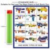 7.3*1.3cm 10Pcs Flattop Soft Bullets Foam Bullets - Red Head + Light Blue Sponge