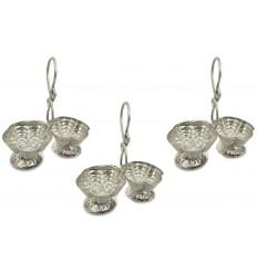 Vexclusive Silver Plated Haldi Kumkum Stand (Pack Of 3), Handmade Silver Plated Holder for Haldi and Kumkum