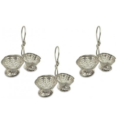 Vexclusive Silver Plated Haldi Kumkum Stand (Pack Of 3), Handmade Silver Plated Holder for Haldi and Kumkum