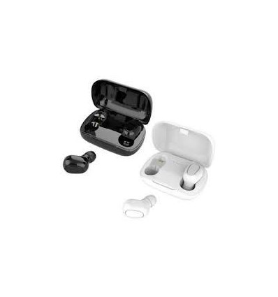 White L21 Bluetooth Earphone Wireless Earbuds 5.0 TWS Headsets Dual Earbuds Bass Sound for Huawei Xiaomi Iphone Samsung Phones