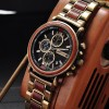Red wood Relogio Masculino BOBO BIRD Wood Watch Top Brand Luxury Chronograph Military Men Watches in Wooden Box