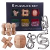 6Pcs Wooden Luban Lock Metal Intelligence Buckle Puzzle Set Educational Toy - Black Box
