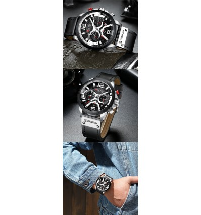 Silver Black CURREN Casual Sport Watches for Men Blue Top Luxury Military Leather Man Clock Fashion Chronograph Wristwatch