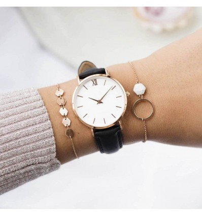 Black Zegarek Damski Fashion Simple Women Watches Ladies Casual Leather Quartz Watch Female Clock Relogio Feminino Montre Femme