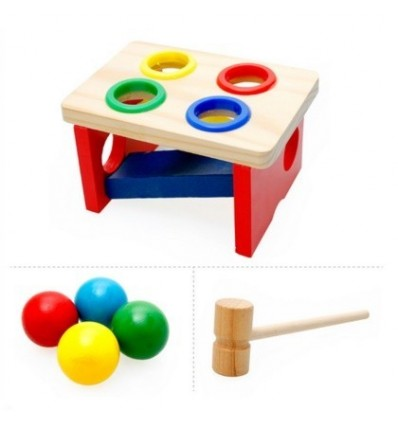 Early Education Development Toys Wooden Knock Table Pounding Bench for Children