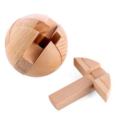 1Pcs Puzzle Toy Wooden Luban Ball Luban Lock Puzzle Development Educational Toy - Wood Color