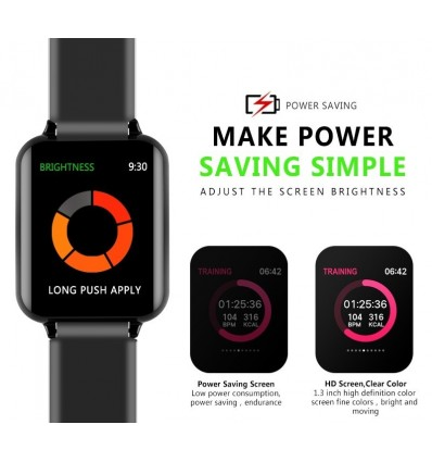 Blue B57 with Box Smart watches Waterproof Sports for iphone Heart Rate Monitor Blood Pressure Functions For Women men kid
