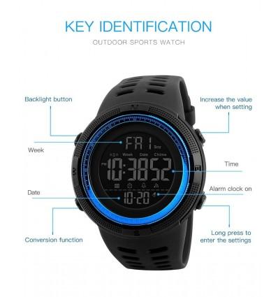 Black Blue SKMEI Fashion Outdoor Sport Watch Men Multifunction Alarm Clock Chrono 5Bar Waterproof Digital Watch hombre 1251
