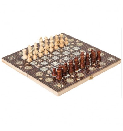 24cm 2 In 1 Printed Pattern Folding Chess Set Wooden Chess Backgammon Set Entertainment Chessboard Games