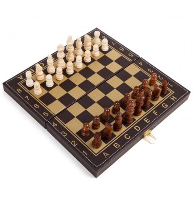 30cm 2 In 1 Leather Folding Chess Set Chess Backgammon Set Entertainment Chessboard Games
