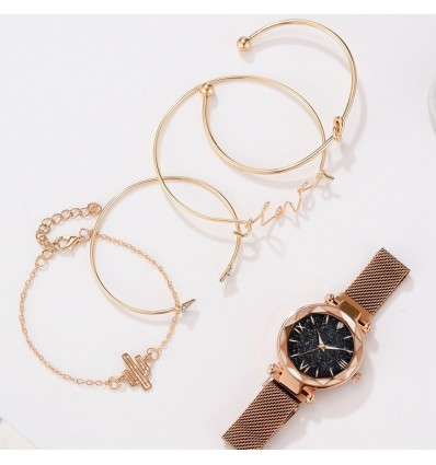 Brown 5pcs Set Luxury Women Watches Magnetic Starry Sky Clock Quartz Wristwatch Fashion Ladies Wrist Watch relogio feminino