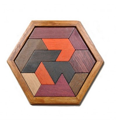 Wooden Hexagon Jigsaw Puzzle Blocks Children Educational Toy(Special-shaped Blocks) - Brown