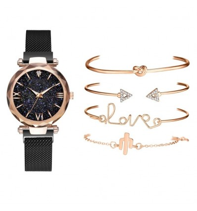 Red 5pcs Set Luxury Women Watches Magnetic Starry Sky Clock Quartz Wristwatch Fashion Ladies Wrist Watch relogio feminino