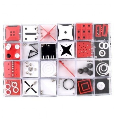 24Pcs Balance Maze Game Puzzle Boxes with Steel Ball Brain Teaser Educational Toys Gift Decompression Toy for Kids Adults