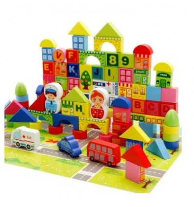 160Pcs Disassembly City Traffic Wooden Educational Building Blocks Toys for Children