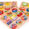 Wooden Children Puzzle Educational Geometric Matching Jigsaw Toys - Primary Colorful A Type