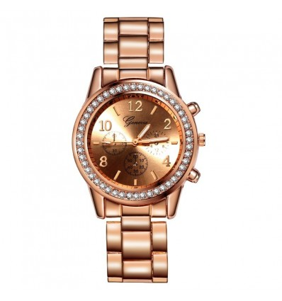 Rose Gold Women's Watches Geneva Classic Luxury Rhinestone Watches Ladies Fashion Gold Watch Clock Reloj Mujer Montre Femme