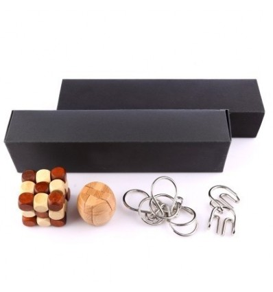 4Pcs Black Box Pack Wooden LuBan Lock Metal Wire Puzzle Ring Brain Teaser Classical Intellectual Toy Set