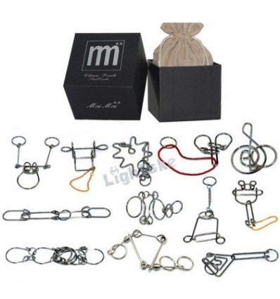 12Pcs Black Box Pack Metal Wire Puzzle Ring Brain Teaser Classical Intellectual Toy(Hard Version) - Pattern-D