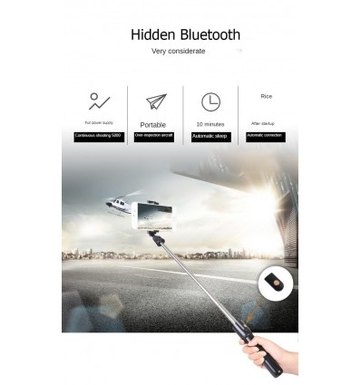 Black CE Certification Bluetooth Selfie Stick Remote Control Tripod Handphone Live Photo Holder Tripod Self-Timer Artifact Rod