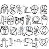 24Pcs Metal Wire Puzzles Brain Teaser Classical Intellectual Toy (EPP28)- Silver
