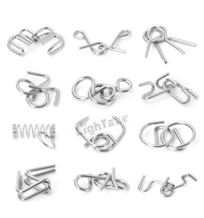 12Pcs Metal Wire Puzzles Brain Teaser Classical Intellectual Toy(A80 Gift Box Pack) - Silver