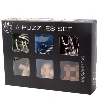 6Pcs IQ Brain Teaser Set Metal Puzzle + Wooden Kong Ming Lock for Children Adults MT1142