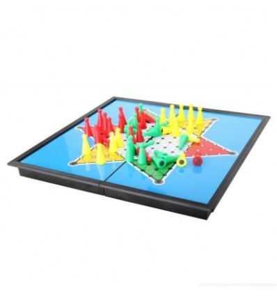 Portable Folding Board Magnetic Chinese Checkers Set Game Play Toy - Color Random