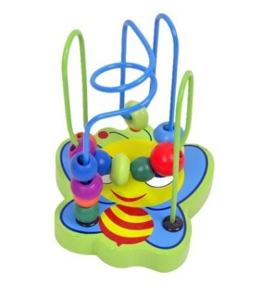 Cartoon Animal Bee Circles Bead Wire Maze Roller Coaster Wooden Educational Toy for Baby Kids Chilrden