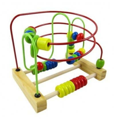 Counting Circles Bead Abacus Wire Maze Roller Coaster Wooden Educational Toy for Baby Kids Chilrden
