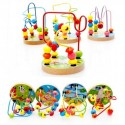 Mini Around Beads Wire Maze Educational Game Beech Wooden Toy for Baby Kids Children(4 Types,Random Delivery)