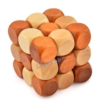 Snake Cube Wooden Kong Ming Lock Brain Teaser Puzzle Toy