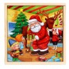 3-in-1 Santa Claus Theme Wooden Double-sided Puzzle Assembly Toy for Children Develop Intelligence