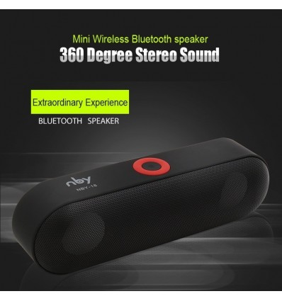 Black New NBY-18 Mini Bluetooth Speaker Portable Wireless Speaker Sound System 3D Stereo Music Surround Support ,TF AUX USB
