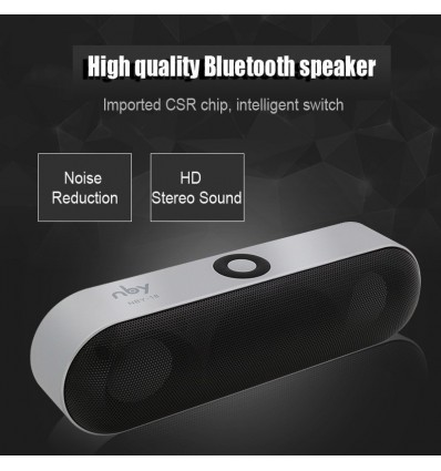 Silver New NBY-18 Mini Bluetooth Speaker Portable Wireless Speaker Sound System 3D Stereo Music Surround Support,TF AUX USB