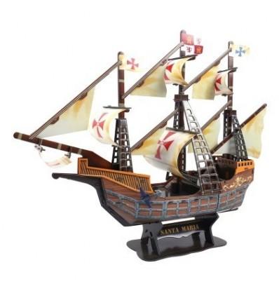 Children Puzzle 3D Jigsaw Boat Wooden Handmade Ship Model Miniature Toy - Virgin Mary
