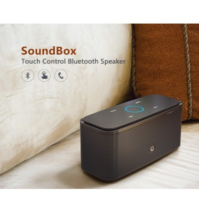 Black DOSS SoundBox Touch Bluetooth Speaker 2*6W Portable Wireless Speakers Stereo Sound Box with Bass and Built-in Mic