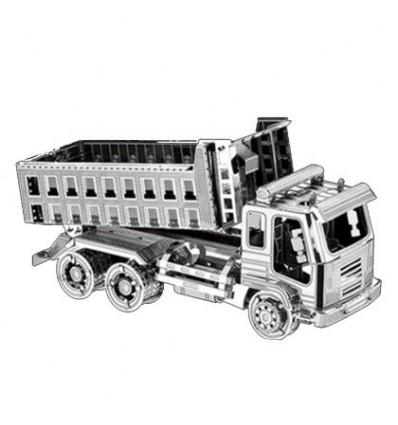 3D Metal Assembly Car Model DIY Building Block Toy(Dump Truck Pattern) - Silver