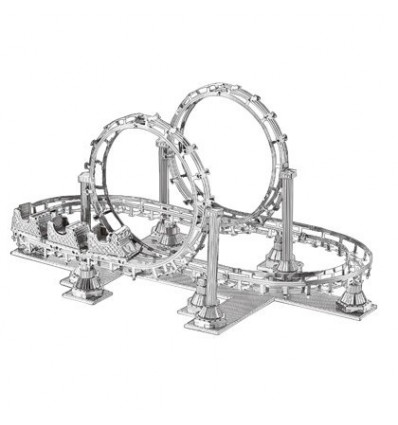 3D Metal Assembly Car Model DIY Building Block Toy(Roller Coaster Pattern) - Silver
