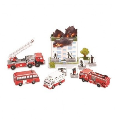 3D Coated Paper Fire Engines Modeling DIY Puzzle Model Home Office Decoration