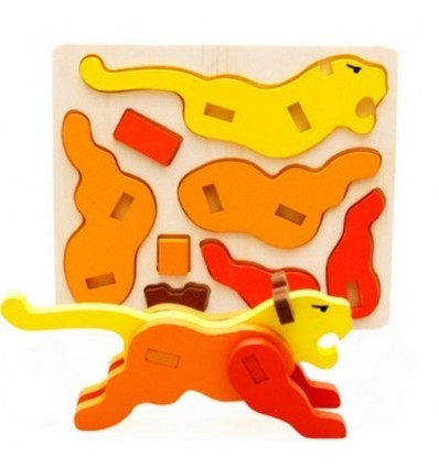 3D Animal Three-dimensional Puzzle Children Wooden Educational Toys - Tiger Type