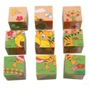 Educational Toys Wooden Cartoon 9 Piece Building Blocks Jigsaw Puzzle with Picture on Each Surfaces Cube Puzzles for kid up to 3