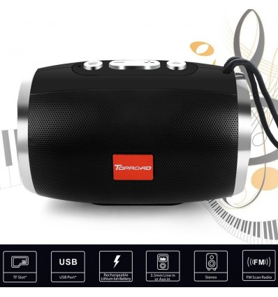 Black TOPROAD HIFI Portable Wireless Bluetooth Speaker Stereo Column Boombox Subwoofer Support FM Radio TF AUX USB for Phones