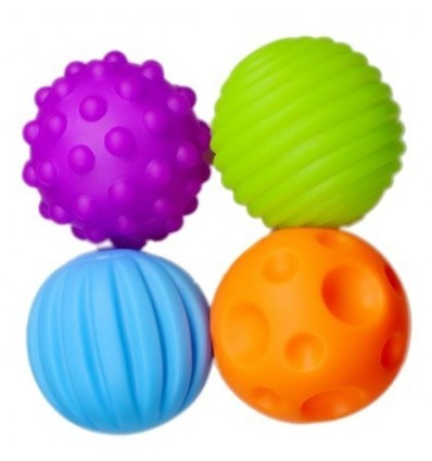 4Pcs Baby Hand Catch Massage Ball with Sound Effect Early Educational Toy