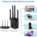 Black 1200Mbps Dual Band AC Wireless 2.4G / 5G Wifi Repeater 4 High Antennas Bridge Signal Amplifier Wired Router Access Point