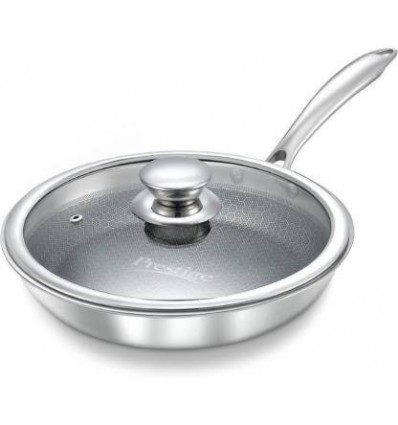 Prestige Tri-Ply Honey Comb Stainless Steel Fry Pan with Lid, 200ml, Silver sku code 36819